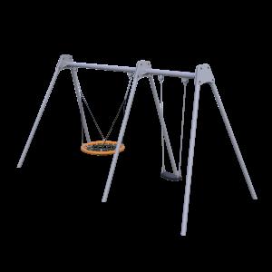Качели с двумя подвесами с гнездом и сидением из гибкого пластика